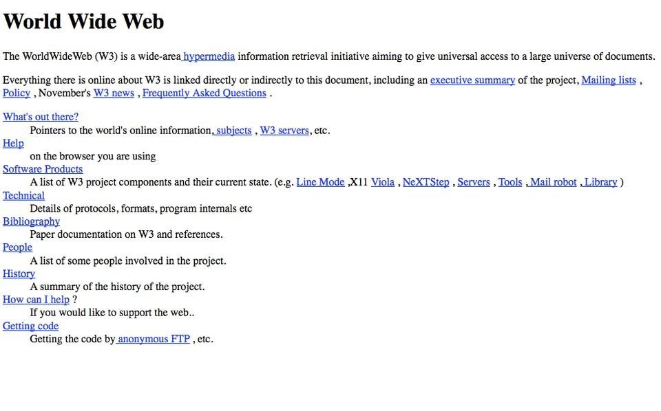 Como era a primeira página da web, lançada em 1989 (Foto: Divulgação)